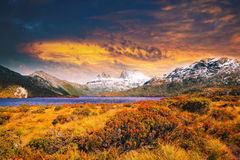 Zonsondergang bij Wiegberg, Tasmanige Royalty-vrije Stock Foto