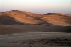 zonsondergang bij woestijn Stock Foto
