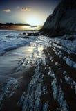 Zonsondergang bij Worlbarrow Baai, Dorset Royalty-vrije Stock Foto's