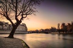 Zonsondergang bij Zegenrivier, Parijs dichtbij Kathedraal Notre Dame Royalty-vrije Stock Afbeelding