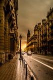 Zonsondergang binnen via Laietana Royalty-vrije Stock Afbeeldingen
