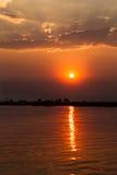 Zonsondergang in Botswana Royalty-vrije Stock Afbeeldingen