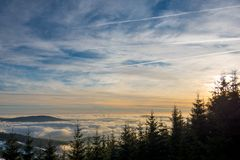 Zonsondergang boven Dolni Morava van Slamnik, Dolni Morava, Tsjechische Rebublic stock afbeeldingen