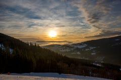 Zonsondergang boven Dolni Morava van Slamnik, Dolni Morava, Tsjechische Rebublic royalty-vrije stock fotografie