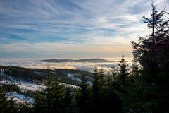 Zonsondergang boven Dolni Morava van Slamnik, Dolni Morava, Tsjechische Rebublic stock foto