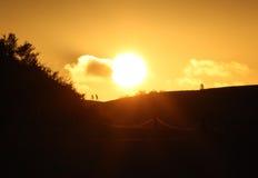 Zonsondergang boven duinen Royalty-vrije Stock Fotografie