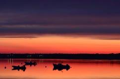 Zonsondergang boven kust van Maine Stock Afbeeldingen