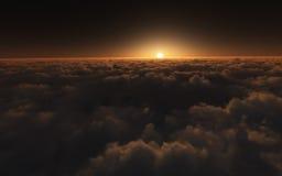 Zonsondergang boven wolken Stock Foto
