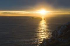 Zonsondergang in Bretagne Royalty-vrije Stock Afbeeldingen