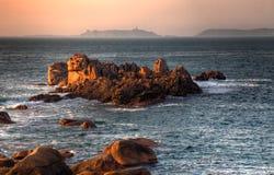 Zonsondergang in Bretagne Stock Foto