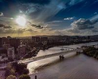 Zonsondergang in Brisbane royalty-vrije stock afbeelding