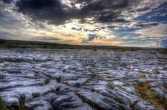 Zonsondergang in Burren Stock Foto