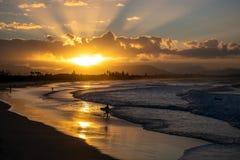 Zonsondergang in Byron Bay royalty-vrije stock afbeeldingen