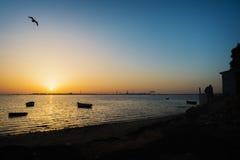 Zonsondergang in Cadiz Royalty-vrije Stock Fotografie