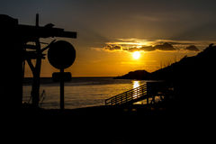 Zonsondergang in Cala D ` Hort Royalty-vrije Stock Afbeeldingen