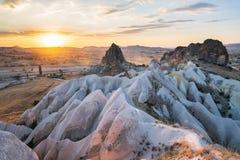 Zonsondergang in Cappadocia, Turkije stock foto