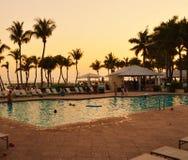 Zonsondergang in Casa Marina Pool Key West, Florida Stock Afbeelding