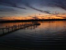 Zonsondergang in Cedar Lake Royalty-vrije Stock Afbeeldingen