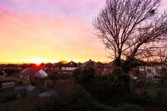 Zonsondergang Cheltenham Royalty-vrije Stock Afbeeldingen