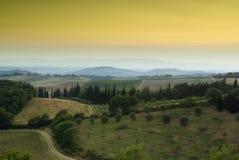 Zonsondergang in Chianti, Toscanië Stock Fotografie