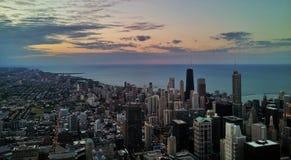 zonsondergang Chicago Royalty-vrije Stock Afbeeldingen