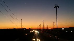 Zonsondergang in Ciudad Juarez, Chihuahua, Mexico Royalty-vrije Stock Fotografie