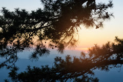 Zonsondergang in de avond stock foto's