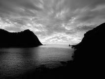 Zonsondergang in de Baai Stock Foto