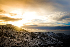Zonsondergang in de berg royalty-vrije stock fotografie
