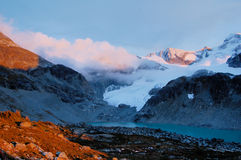 Zonsondergang in de berg Royalty-vrije Stock Afbeelding