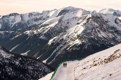 Zonsondergang in de bergen Stock Fotografie