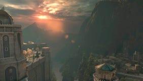 Zonsondergang in de bergen stock illustratie