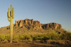 Zonsondergang in de Bergen van het Bijgeloof in Arizona Royalty-vrije Stock Foto's