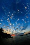 Zonsondergang in de Delta van Donau Royalty-vrije Stock Foto's