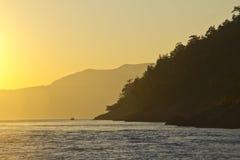 Zonsondergang in de eilanden van San Juan Stock Foto