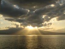 Zonsondergang in de Etna stock foto