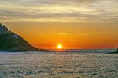 Zonsondergang in de Golf van Biskaje, Spanje royalty-vrije stock afbeeldingen