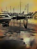 Zonsondergang in de haven Royalty-vrije Stock Afbeelding