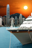 Zonsondergang in de haven van Hongkong Royalty-vrije Stock Fotografie