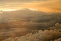 Zonsondergang in de hemel Stock Afbeelding