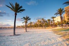 Zonsondergang in de kust van Las Maravillas in Palma de Mallorca stock fotografie