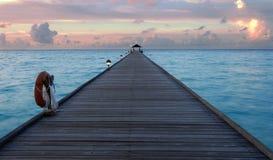 Zonsondergang in de Maldiven royalty-vrije stock fotografie