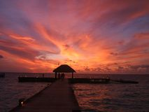 Zonsondergang in de Maldiven Stock Foto's