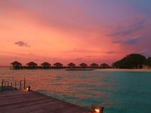 Zonsondergang in de Maldiven Royalty-vrije Stock Afbeeldingen