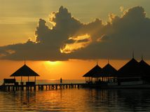 Zonsondergang in de Maldiven Royalty-vrije Stock Foto's