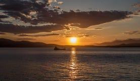 Zonsondergang in de Middellandse Zee Stock Foto's