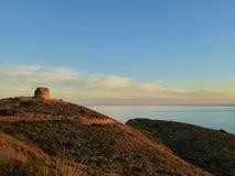 Zonsondergang in de Middellandse Zee Siërra Helada Benidorm Spanje royalty-vrije stock afbeelding