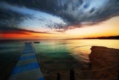 Zonsondergang in de sjeik van sharmGr Stock Foto