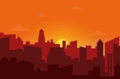 Zonsondergang in de stad Cityscape de vectorillustratie van de silhouetzonsopgang Stock Fotografie