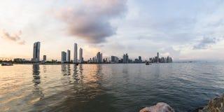 Zonsondergang in de Stad van Panama, Panama Royalty-vrije Stock Afbeeldingen